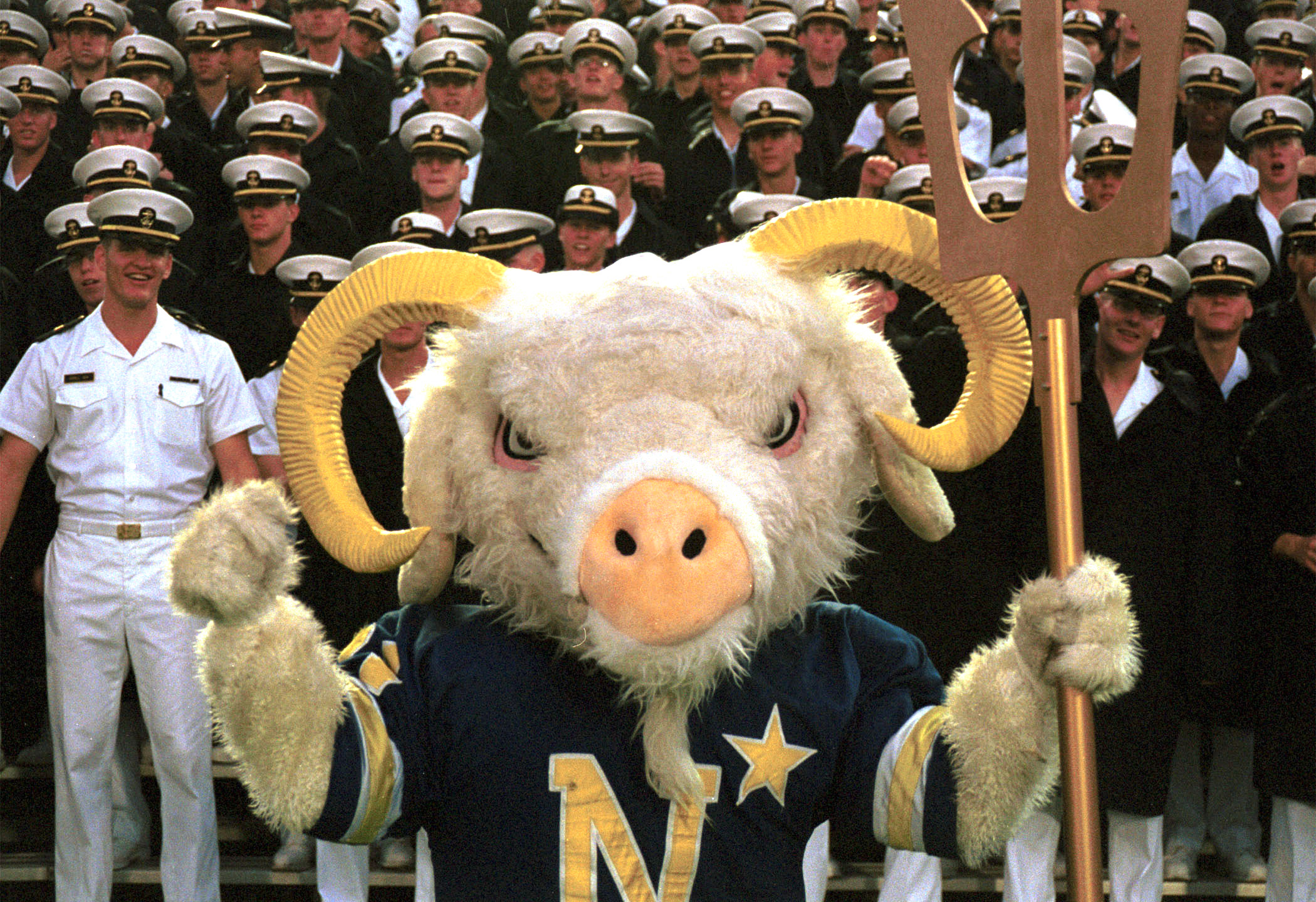 000902-N-9848G-002 U.S. Naval Academy, Annapolis, Md., (Sep. 2, 2000) Ð ÒBillÓ the U.S. Naval Academy mascot leads the cheering section of Midshipmen, during the AcademyÕs opening game against Temple at Navy Marine Corps Memorial Stadium in Annapolis, MD. U.S. Navy photo by Lieutenant Junior Grade John Gay. (RELEASED)